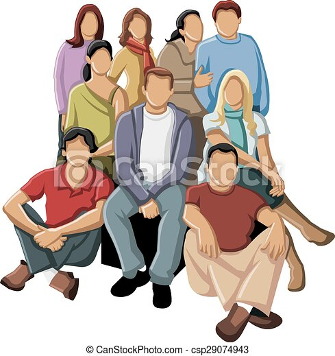 group of young people eps vector search clip art illustration rh canstockphoto ca Young and Elderly People Clip Art Young People Meeting
