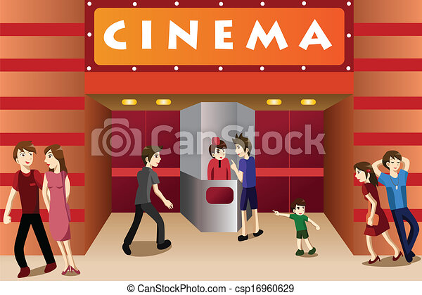 Young people hanging out outside a movie theater - csp16960629