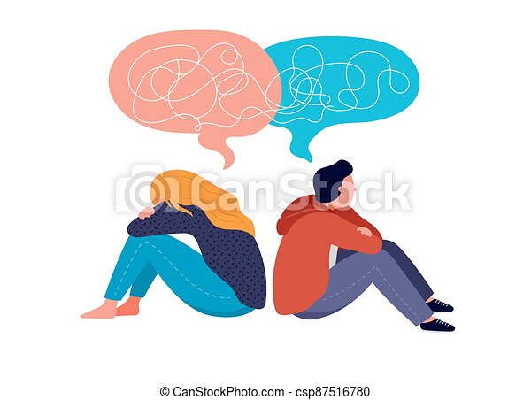 Young people, teenagers, couple of girl and boy, sitting back to back, sad and angry on each other. Breaking up, relationship issues, broken heart, separating concept - csp87516780