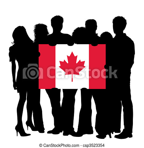Young People with a Flag of Canada - csp3523354