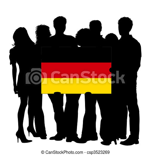 Young People with a Flag of Germany - csp3523269