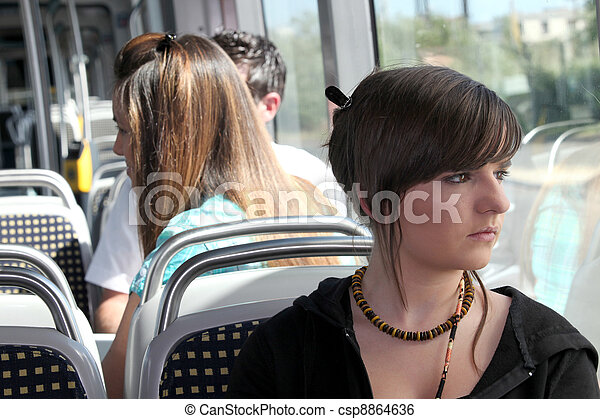 Young person on the tram - csp8864636