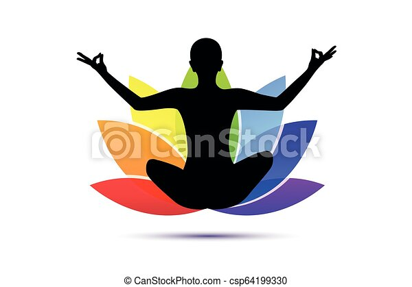 Young Person Sitting In Yoga Meditation Lotus Position Silhouette With Lily In Rainbow Colors Vector Illustration Eps10