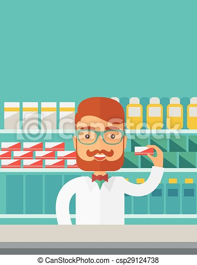 Young pharmacy chemist man standing in drugstore. - csp29124738