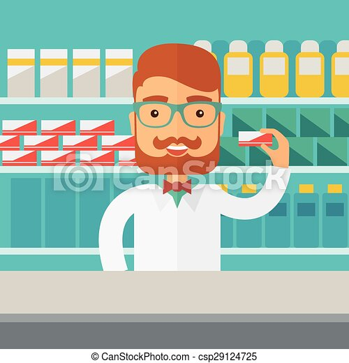 Young pharmacy chemist man standing in drugstore. - csp29124725