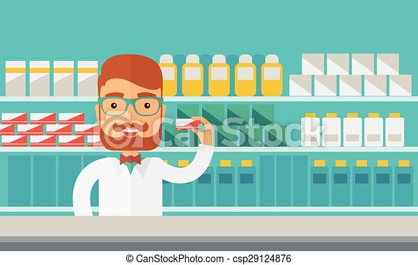 Young pharmacy chemist man standing in drugstore. - csp29124876