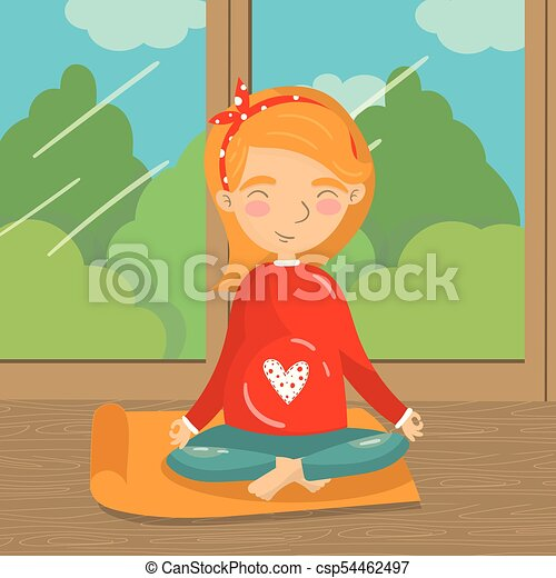 girl swinging in window clipart