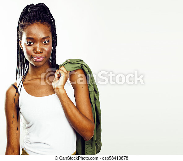 young pretty african-american woman posing cheerful emotional on - csp58413878