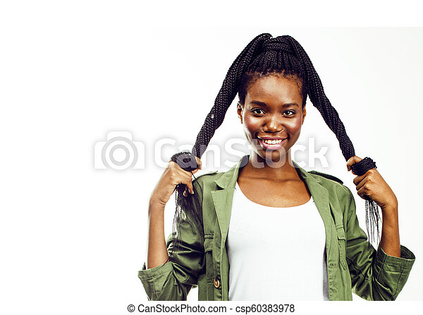 young pretty african-american woman posing cheerful emotional on - csp60383978