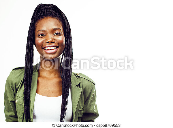 young pretty african-american woman posing cheerful emotional on - csp59769553