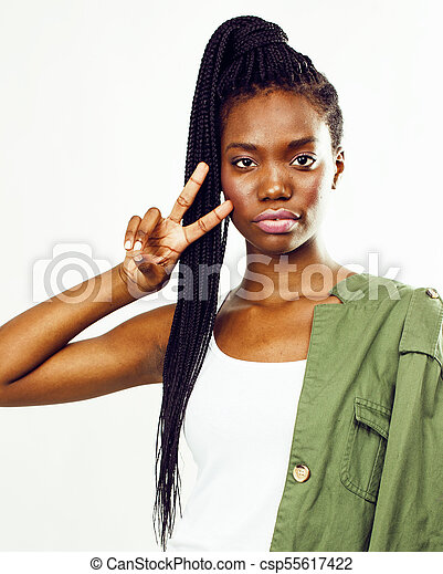 young pretty african-american woman posing cheerful emotional on - csp55617422