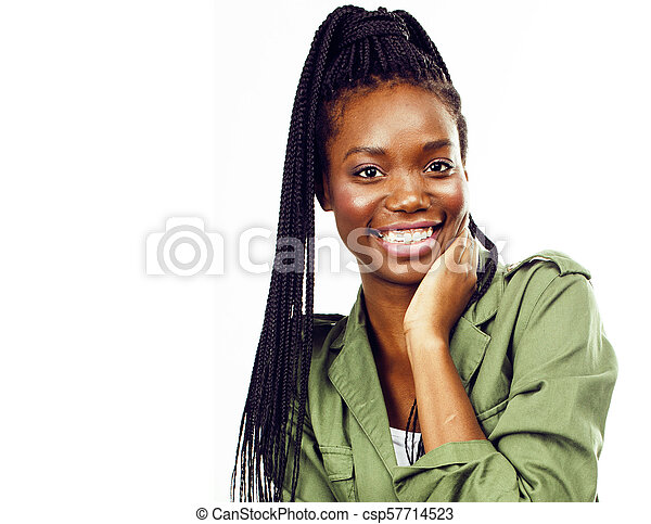 young pretty african-american woman posing cheerful emotional on - csp57714523