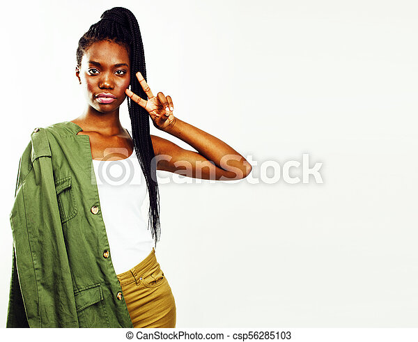 young pretty african-american woman posing cheerful emotional on - csp56285103