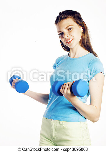 young pretty slim woman with dumbbell isolated cheerful smiling, real sport girl next door, lifestyle people concept - csp43095868