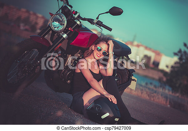 Nake sexy young girl Young Pretty Woman Sitting On Ground Next To Nake Racer Motorbike Canstock