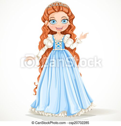 Young princess with long brown hair in a blue dress - csp20702285