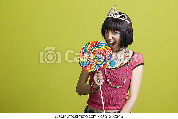 Young punk woman with a big lollipop - csp1262346