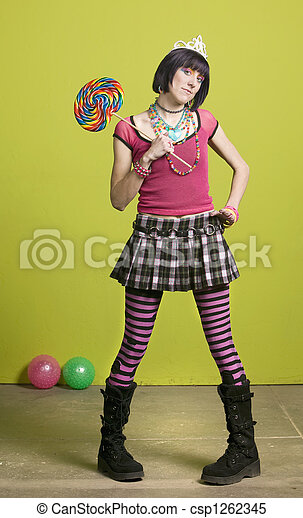 Young punk woman with a big lollipop - csp1262345