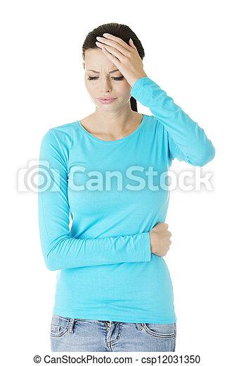 Young sad woman have big problem - csp12031350