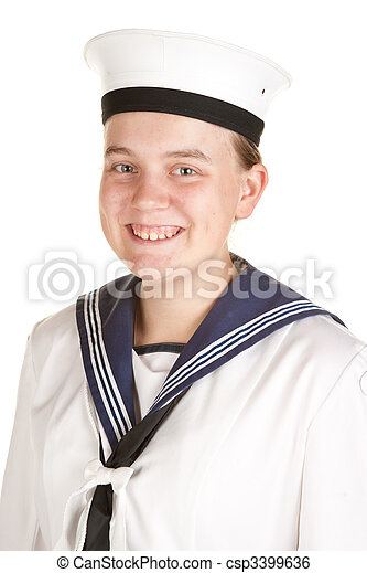 young sailor isolated white background - csp3399636