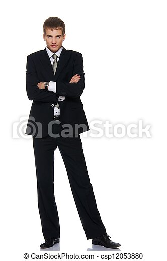 Young serious businessman isolated on white - csp12053880