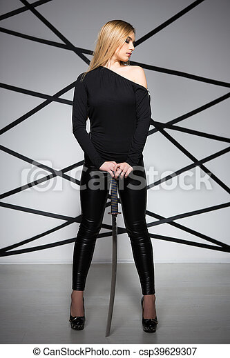 Young sexy blond woman - csp39629307