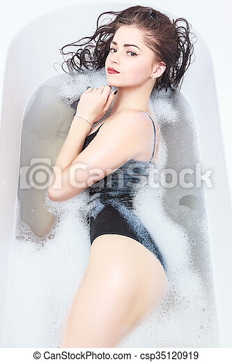 Young Sexy Girl In A Bath With Foam Csp35120919