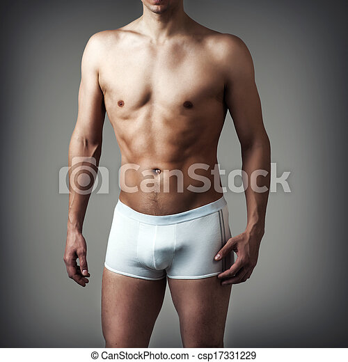 young sexy handsome man wearing white underwear - csp17331229