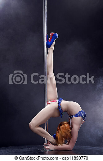 Young sexy pole dance woman.  - csp11830770
