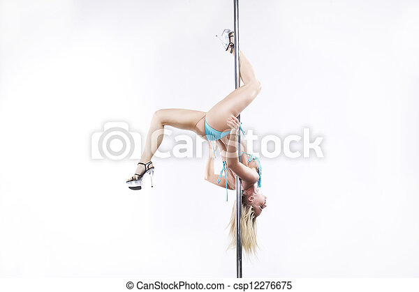 Young sexy pole dance woman. - csp12276675