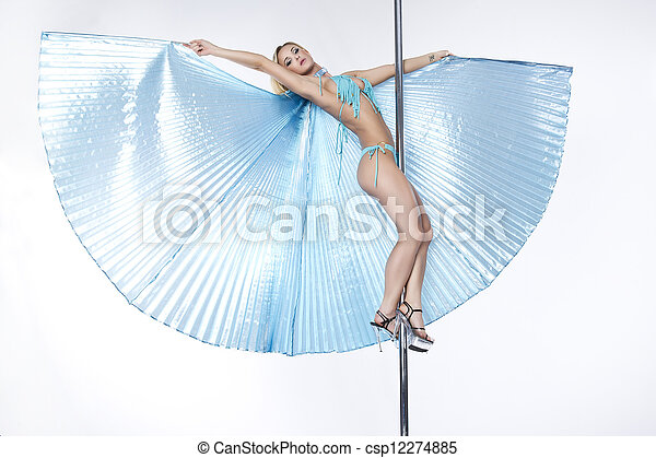 Young sexy pole dance woman. - csp12274885