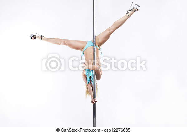 Young sexy pole dance woman. - csp12276685