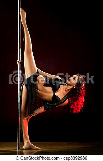 Young sexy pole dance woman - csp8392986