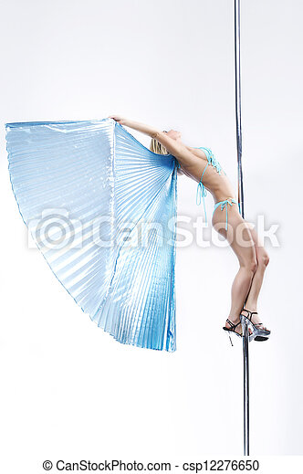 Young sexy pole dance woman. - csp12276650