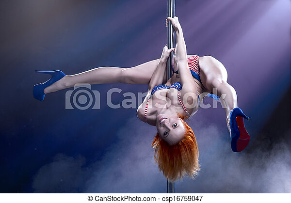 Young sexy pole dance woman. - csp16759047