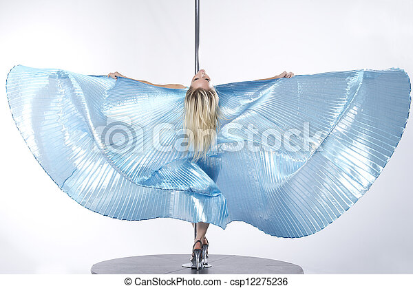 Young sexy pole dance woman. - csp12275236