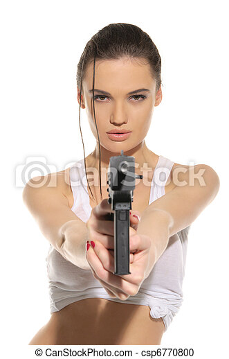 Young sexy woman with gun - csp6770800