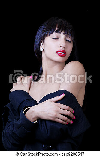 Young Skinny African American Woman Eyes Closed - csp9208547
