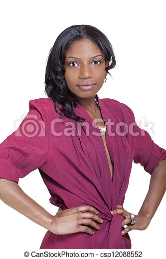 Young Skinny African American Woman Dress Standing - csp12088552