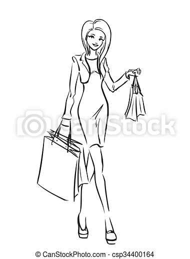 girls going shopping coloring pages | Young slim girl in short dress with shopping bags. Young ...