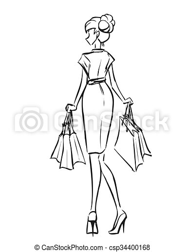 Young Slim Girl In Short Dress With Shopping Bags Young