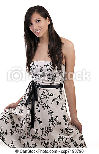 Young smiling caucasian woman standing in dress - csp7190798