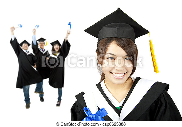 Young smiling graduate asian girl and happy students group - csp6625388