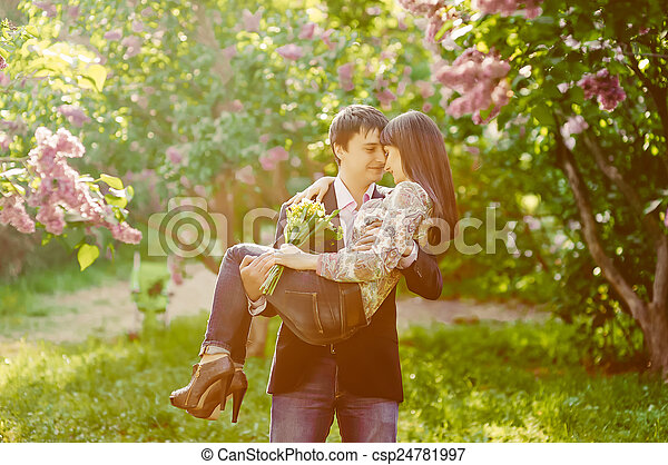 Young smiling happy couple in love - csp24781997