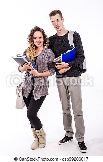 Young Smiling Students With Books - csp39206017