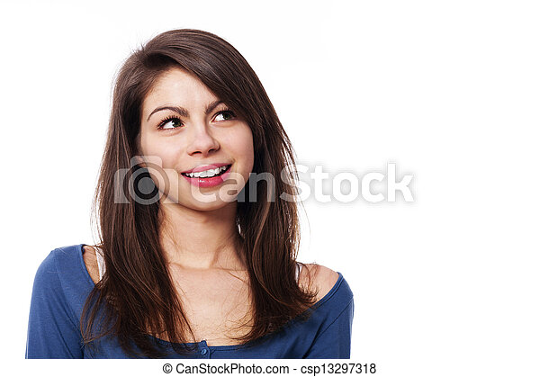 Young smiling woman looking up - csp13297318
