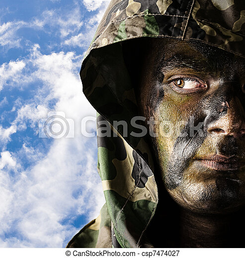 young soldier face - csp7474027