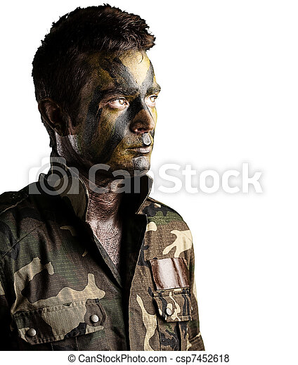 young soldier face - csp7452618