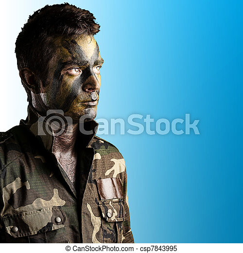 young soldier face - csp7843995