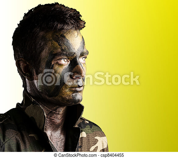 young soldier face - csp8404455